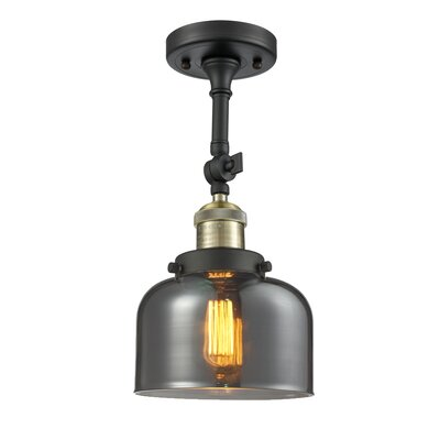 Bell Glass 1-Light Semi Flush Mount Size: 11 H x 8 W, Shade Color: Smoked, Finish: Black/Brushed Brass