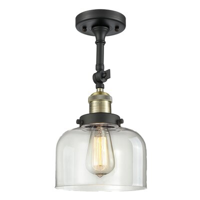Bell Glass 1-Light Semi Flush Mount Finish: Black/Brushed Brass, Shade Color: Clear, Size: 11 H x 8 W
