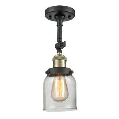 Bell Glass 1-Light Semi Flush Mount Shade Color: Clear, Finish: Black/Brushed Brass, Size: 11 H x 5 W