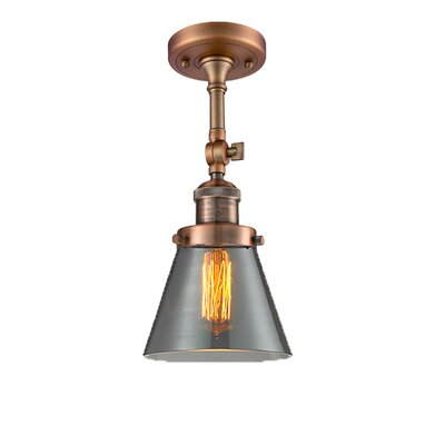 Glass Cone 1-Light Semi Flush Mount Size: 11 H x 6.25 W, Shade Color: Smoked, Finish: Antique Copper