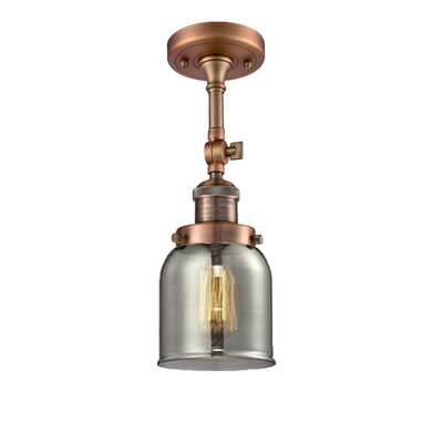 Bell Glass 1-Light Semi Flush Mount Finish: Antique Copper, Shade Color: Smoked, Size: 11 H x 5 W