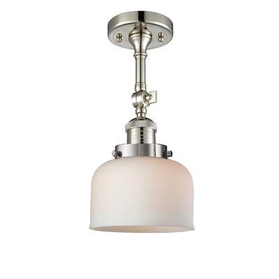 Bell Glass 1-Light Semi Flush Mount Finish: Polished Nickel, Shade Color: Matte White Cased, Size: 11 H x 8 W