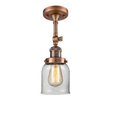 Bell Glass 1-Light Semi Flush Mount Finish: Antique Copper, Shade Color: Clear, Size: 11 H x 5 W