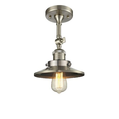 Railroad Shade 1-Light Semi Flush Mount Finish: Satin Nickel