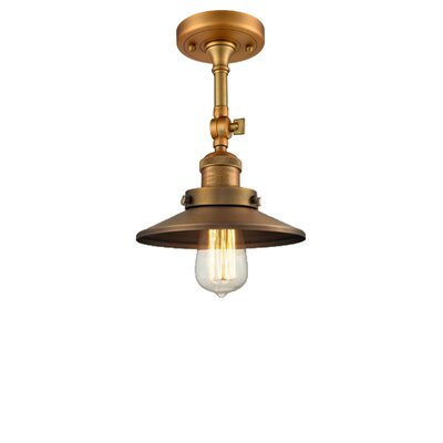 Railroad Shade 1-Light Semi Flush Mount Finish: Brushed Brass
