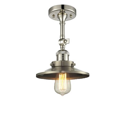 Railroad Shade 1-Light Semi Flush Mount Finish: Polished Nickel