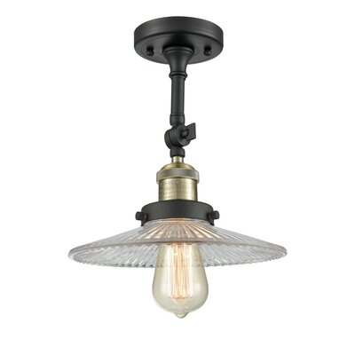 Halophane 1-Light Semi Flush Mount Finish: Black Brushed Brass