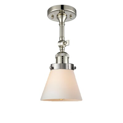 Glass Cone 1-Light Semi Flush Mount Finish: Polished Nickel, Shade Color: Matte White Cased, Size: 11 H x 6.25 W
