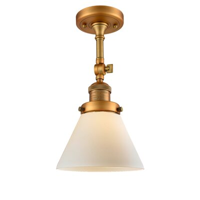 Glass Cone 1-Light Semi Flush Mount Shade Color: Matte White Cased, Size: 11 H x 6.25 W, Finish: Brushed Brass