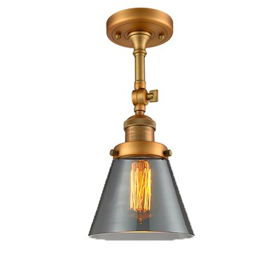 Glass Cone 1-Light Semi Flush Mount Finish: Brushed Brass, Shade Color: Smoked, Size: 11 H x 6.25 W