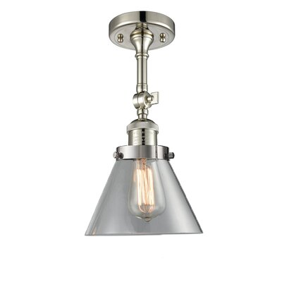 Glass Cone 1-Light Semi Flush Mount Finish: Polished Nickel, Shade Color: Clear, Size: 12 H x 8 W