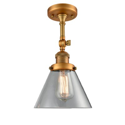 Glass Cone 1-Light Semi Flush Mount Finish: Brushed Brass, Shade Color: Clear, Size: 12 H x 8 W