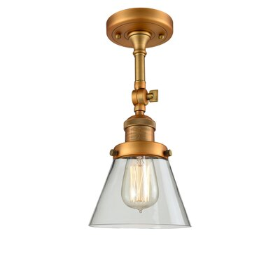 Glass Cone 1-Light Semi Flush Mount Finish: Brushed Brass, Shade Color: Clear, Size: 11 H x 6.25 W