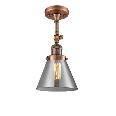 Glass Cone 1-Light Semi Flush Mount Finish: Antique Copper, Shade Color: Smoked, Size: 12 H x 8 W