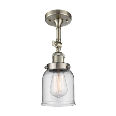 Bell Glass 1-Light Semi Flush Mount Finish: Satin Nickel, Shade Color: Clear, Size: 11 H x 5 W