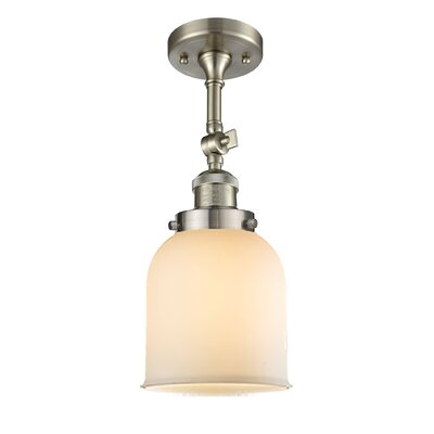 Bell Glass 1-Light Semi Flush Mount Finish: Brushed Satin Nickel, Shade Color: Matte White Cased, Size: 11 H x 5 W
