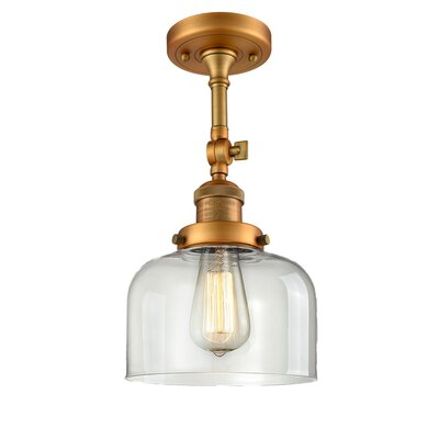 Bell Glass 1-Light Semi Flush Mount Finish: Brushed Brass, Shade Color: Clear, Size: 11 H x 8 W