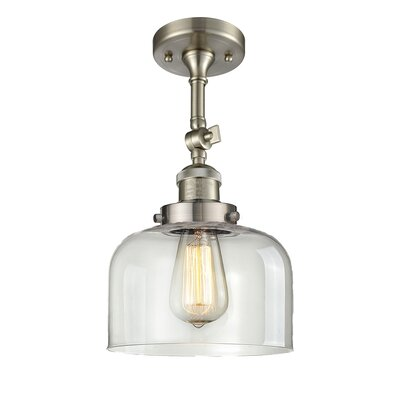 Bell Glass 1-Light Semi Flush Mount Finish: Brushed Satin Nickel, Shade Color: Clear, Size: 11 H x 8 W