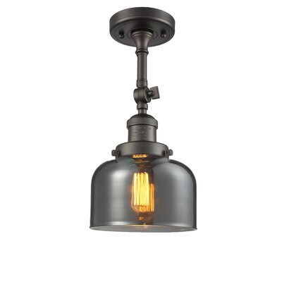 Bell Glass 1-Light Semi Flush Mount Shade Color: Smoked, Finish: Oiled Rubbed Bronze, Size: 11 H x 5 W