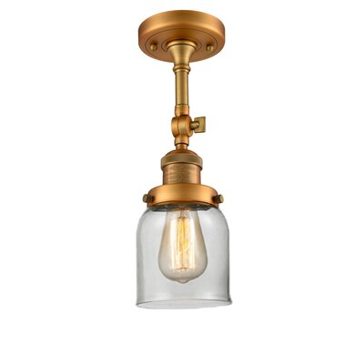 Bell Glass 1-Light Semi Flush Mount Finish: Brushed Brass, Shade Color: Clear, Size: 11 H x 5 W
