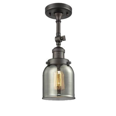 Bell Glass 1-Light Semi Flush Mount Finish: Oil Rubbed Bronze, Shade Color: Smoked, Size: 11 H x 5 W