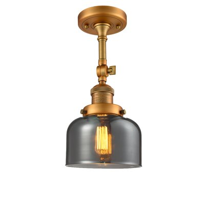 Bell Glass 1-Light Semi Flush Mount Finish: Brushed Brass, Shade Color: Smoked, Size: 11 H x 8 W