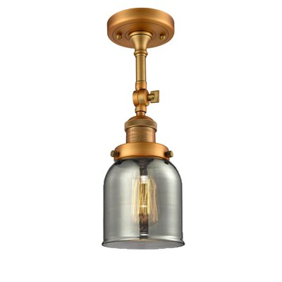 Bell Glass 1-Light Semi Flush Mount Finish: Brushed Brass, Shade Color: Smoked, Size: 11 H x 5 W