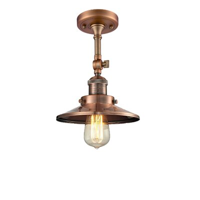 Railroad Shade 1-Light Semi Flush Mount Finish: Antique Copper