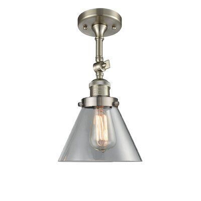Glass Cone 1-Light Semi Flush Mount Shade Color: Clear, Finish: Satin Nickel, Size: 12 H x 8 W