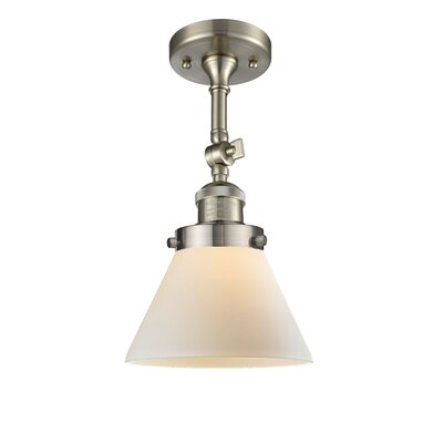 Glass Cone 1-Light Semi Flush Mount Finish: Satin Nickel, Shade Color: Matte White Cased, Size: 12 H x 8 W