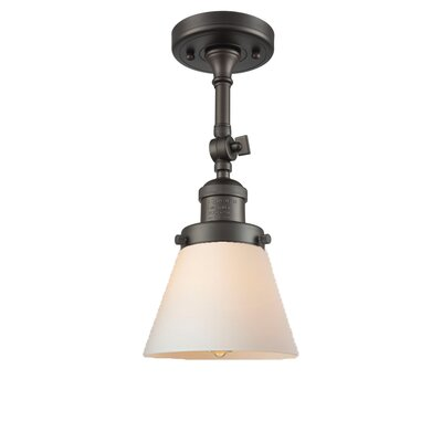 Glass Cone 1-Light Semi Flush Mount Finish: Oil Rubbed Bronze, Shade Color: Matte White Cased, Size: 11 H x 6.25 W