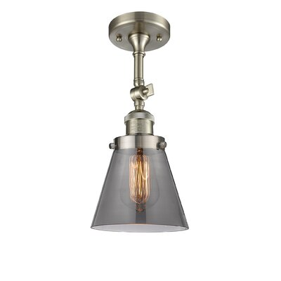 Glass Cone 1-Light Semi Flush Mount Finish: Brushed Satin Nickel, Shade Color: Smoked, Size: 11 H x 6.25 W