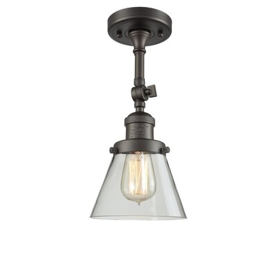 Glass Cone 1-Light Semi Flush Mount Size: 11 H x 6.25 W, Shade Color: Clear, Finish: Oiled Rubbed Bronze