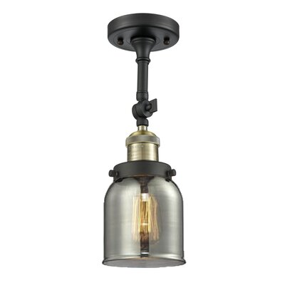 Bell Glass 1-Light Semi Flush Mount Finish: Black Brushed Brass, Shade Color: Smoked, Size: 11 H x 5 W