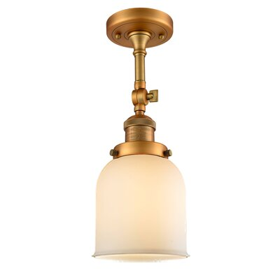Bell Glass 1-Light Semi Flush Mount Finish: Brushed Brass, Shade Color: Matte White Cased, Size: 11 H x 5 W