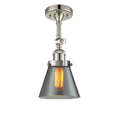 Glass Cone 1-Light Semi Flush Mount Finish: Polished Nickel, Shade Color: Smoked, Size: 11 H x 6.25 W