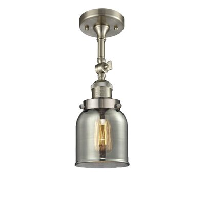 Bell Glass 1-Light Semi Flush Mount Finish: Brushed Satin Nickel, Shade Color: Smoked, Size: 11 H x 5 W