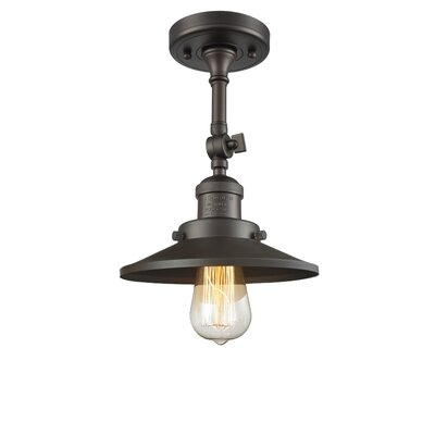Railroad Shade 1-Light Semi Flush Mount Finish: Oiled Rubbed Bronze