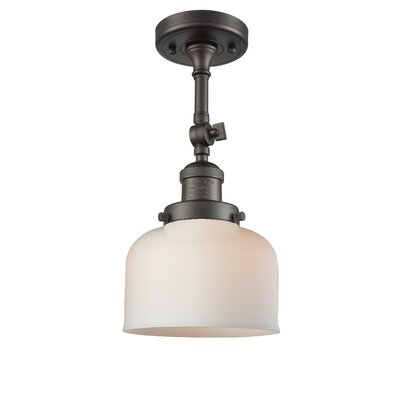 Bell Glass 1-Light Semi Flush Mount Finish: Oiled Rubbed Bronze, Shade Color: Matte White Cased, Size: 11 H x 8 W