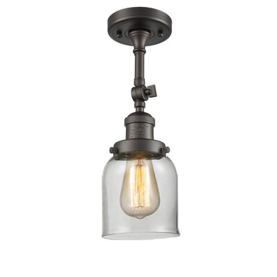 Bell Glass 1-Light Semi Flush Mount Finish: Oil Rubbed Bronze, Shade Color: Clear, Size: 11 H x 5 W