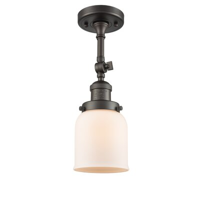 Bell Glass 1-Light Semi Flush Mount Finish: Oiled Rubbed Bronze, Shade Color: Matte White Cased, Size: 11 H x 5 W