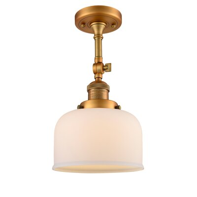 Bell Glass 1-Light Semi Flush Mount Finish: Brushed Brass, Shade Color: Matte White Cased, Size: 11 H x 8 W