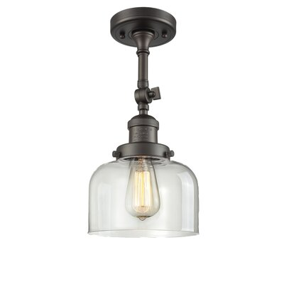 Bell Glass 1-Light Semi Flush Mount Finish: Oil Rubbed Bronze, Shade Color: Clear, Size: 11 H x 8 W