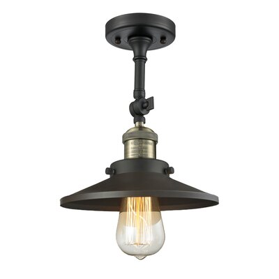 Railroad Shade 1-Light Semi Flush Mount Finish: Black/Brushed Brass
