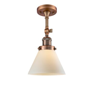 Glass Cone 1-Light Semi Flush Mount Finish: Antique Copper, Shade Color: Matte White Cased, Size: 12 H x 8 W