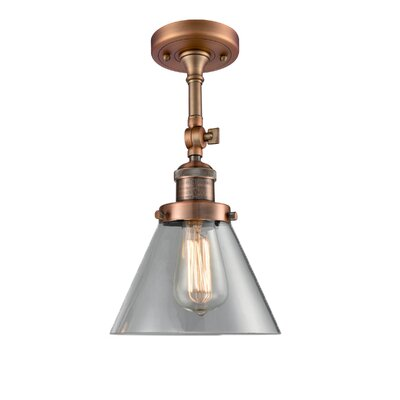 Glass Cone 1-Light Semi Flush Mount Finish: Antique Copper, Shade Color: Clear, Size: 12 H x 8 W