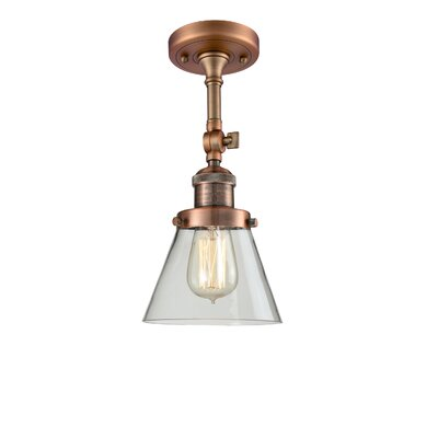 Glass Cone 1-Light Semi Flush Mount Shade Color: Matte White Cased, Size: 12 H x 8 W, Finish: Black/Brushed Brass