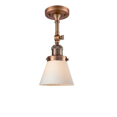 Glass Cone 1-Light Semi Flush Mount Finish: Antique Copper, Shade Color: Matte White Cased, Size: 11 H x 6.25 W