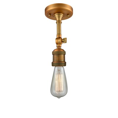 Bare Bulb 1-Light LED Semi Flush Mount Finish: Brushed Brass
