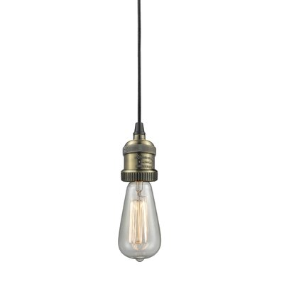 Single Socket Pendant Light Cord Finish: Black/Brushed Brass